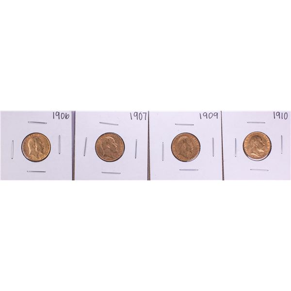 Lot of 1906-1907 & 1909-1910 Great Britain Half Sovereign Gold Coins