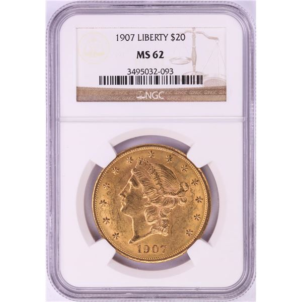 1907 $20 Liberty Head Double Eagle Gold Coin NGC MS62