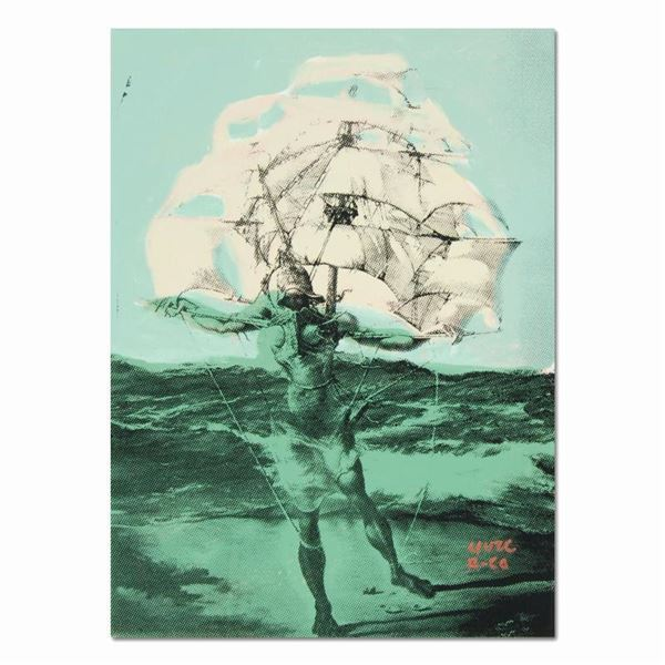 """Ringo"" Daniel Funes ""Man Ship (Dali Homage)"" Original Mixed Media on Canvas"