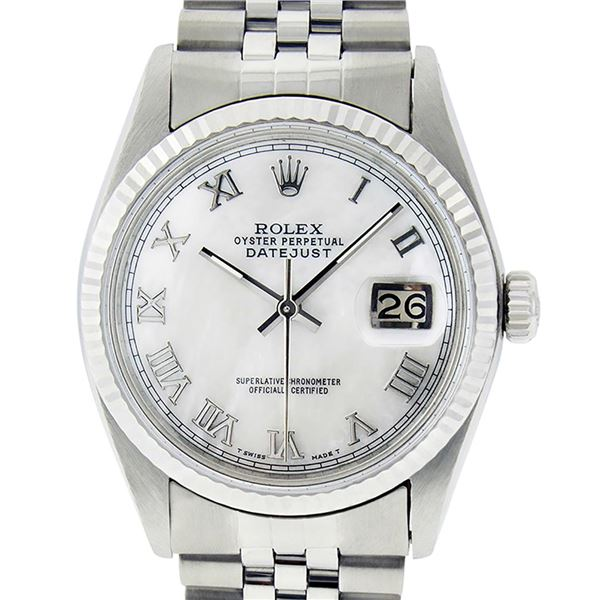 Rolex Men's Stainless Steel Mother Of Pearl Roman Datejust Wristwatch