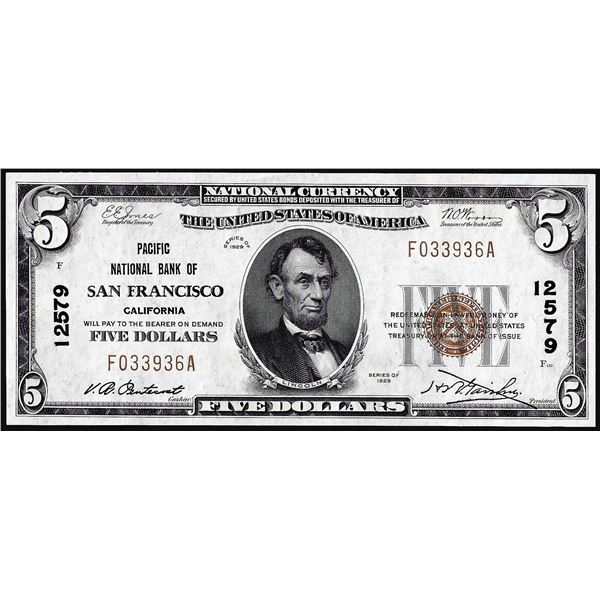 1929 $5 Pacific NB of San Francisco, CA CH# 12579 National Currency Note