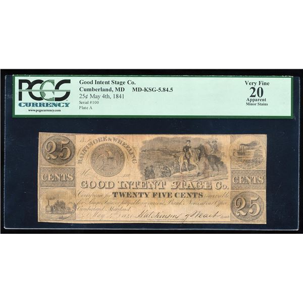 1841 25 Cents Good Intent Stage Co. Cumberland, MD Scrip Note PCGS Very Fine 20 Apparent