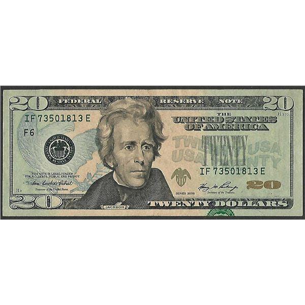 2006 $20 Federal Reserve Note Print Overprint Shift Error