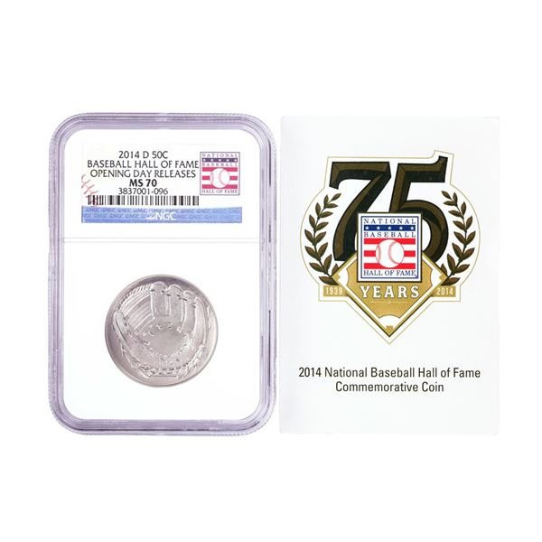 2014-D Baseball Hall of Fame Half Dollar Coin NGC MS70 Opening Day