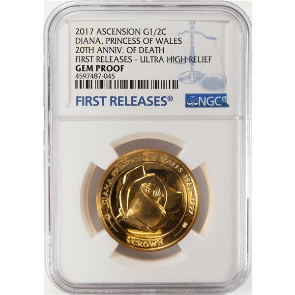 2017 Ascension Princess of Wales Half Crown Ultra High Relief Gold Coin NGC Gem Proof
