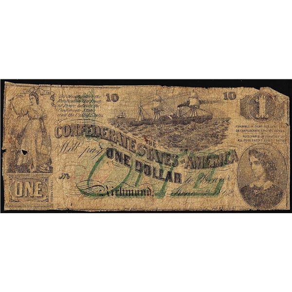 1862 $1 Confederate States of America Note