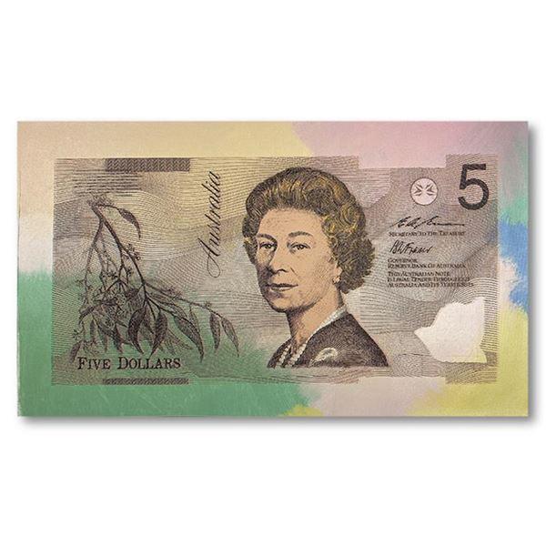 "Steve Kaufman (1960-2010) ""Australian Money ($5)"" Original Mixed Media on Canvas"
