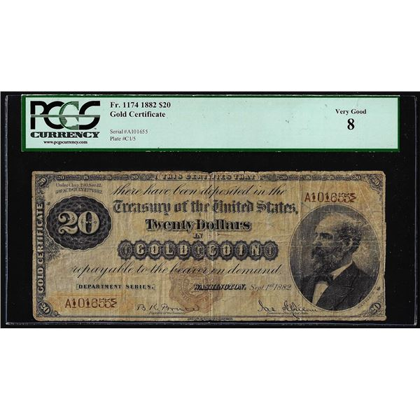 1882 $20 Gold Certificate Note Fr.1174 PCGS Very Good 8