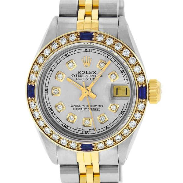 Rolex Ladies Two Tone Diamond & Sapphire 26MM Oyster Perpetual Datejust Watch