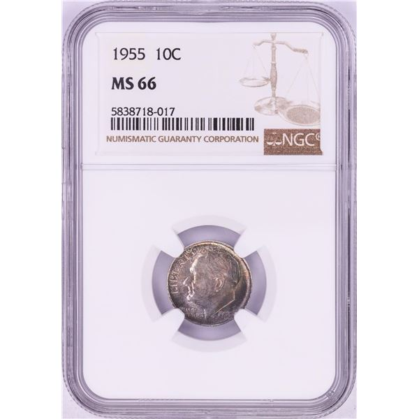 1955 Roosevelt Dime Coin NGC MS66 Nice Toning