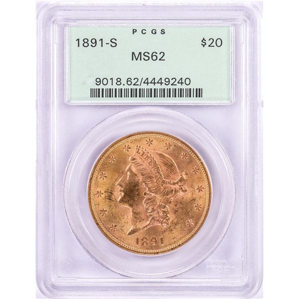1891-S $20 Liberty Head Double Eagle Gold Coin PCGS MS62 Old Green Holder
