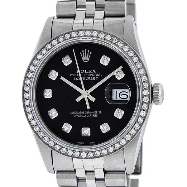 Rolex Men's Stainless Steel Black Diamond Oyster Perpetual Datejust Wristwatch