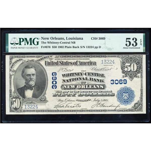 1902PB $50 New Orleans, LA CH# 3069 National Bank Note PMG About Uncirculated 53EPQ