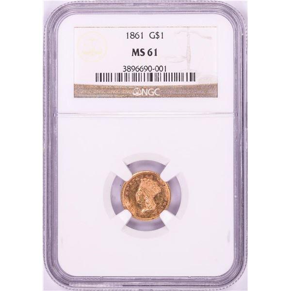 1861 $1 Indian Princess Head Gold Dollar Coin NGC MS61