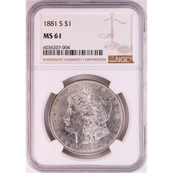 1881-S $1 Morgan Silver Dollar Coin NGC MS61 Nice Toning