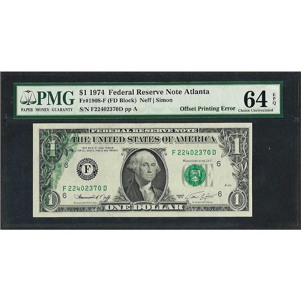 1974 $1 Federal Reserve Note Partial Offset Printing Error PMG Ch. Uncirculated 64EPQ