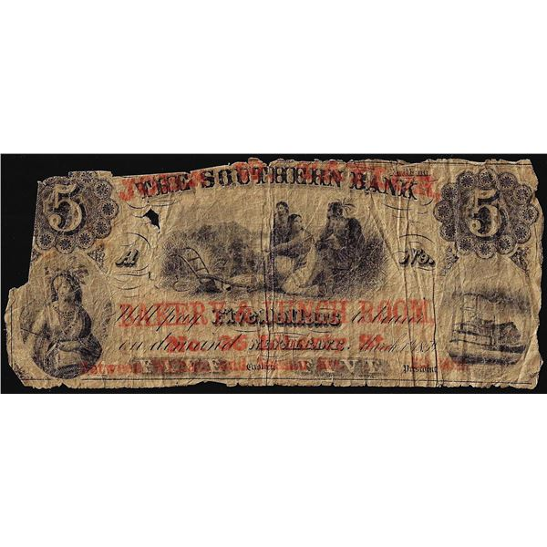 1859 $5 Southern Bank New York with Bakery & Lunch Overprint Obsolete Note