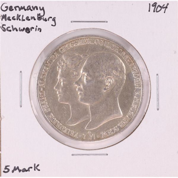 1904 Germany Macklenburg Schwerin 5 Mark Silver Coin