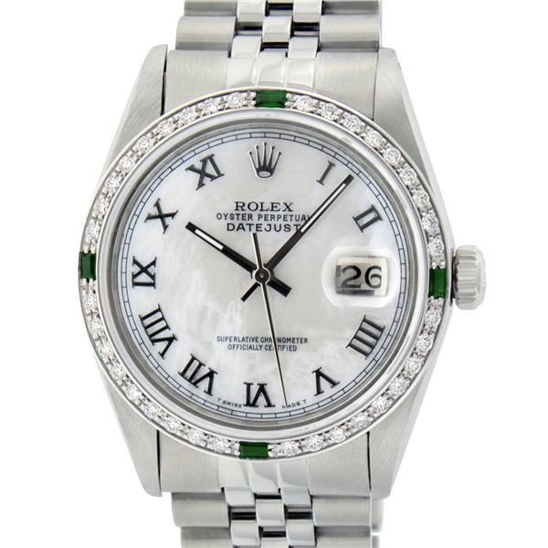 Rolex Men's Stainless Steel Silver MOP Diamond & Emerald Datejust Wristwatch