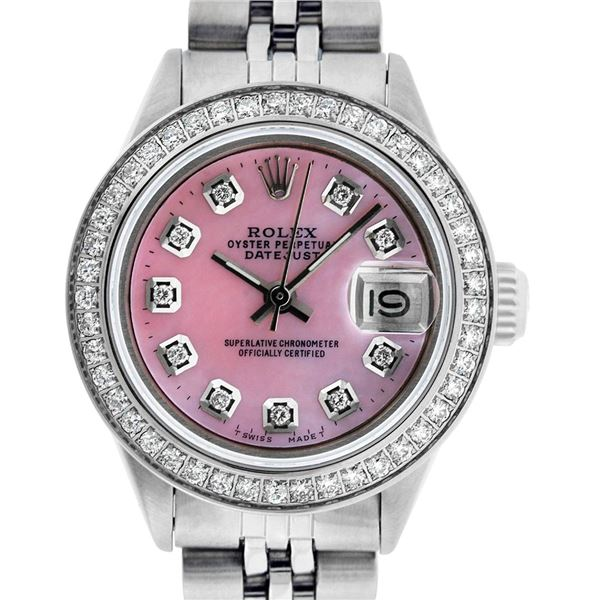 Rolex Ladies Stainless Steel Pink Mother of Pearl Diamond Datejust Wriwatch
