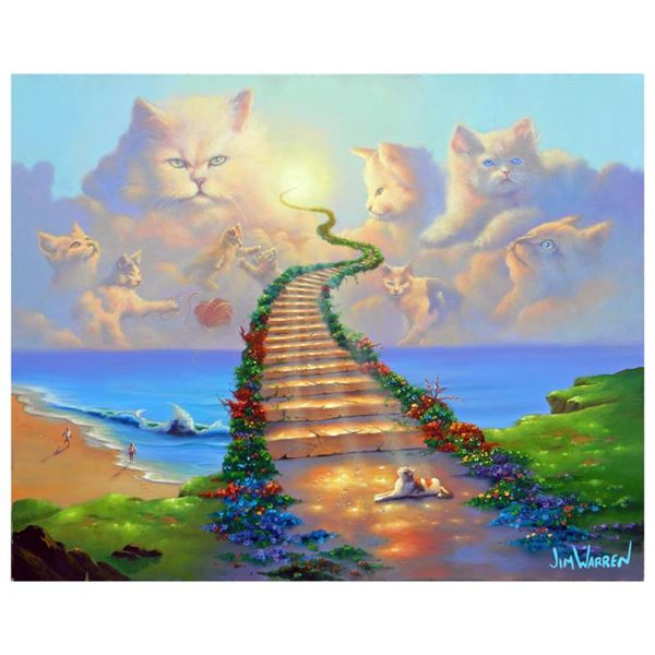 """Jim Warren """"All Cats Go To Heaven"""" Limited Edition Giclee on Canvas"""