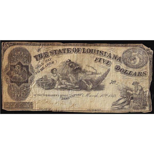 1863 $5 The State of Louisiana Baton Rouge, LA Obsolete Banknote