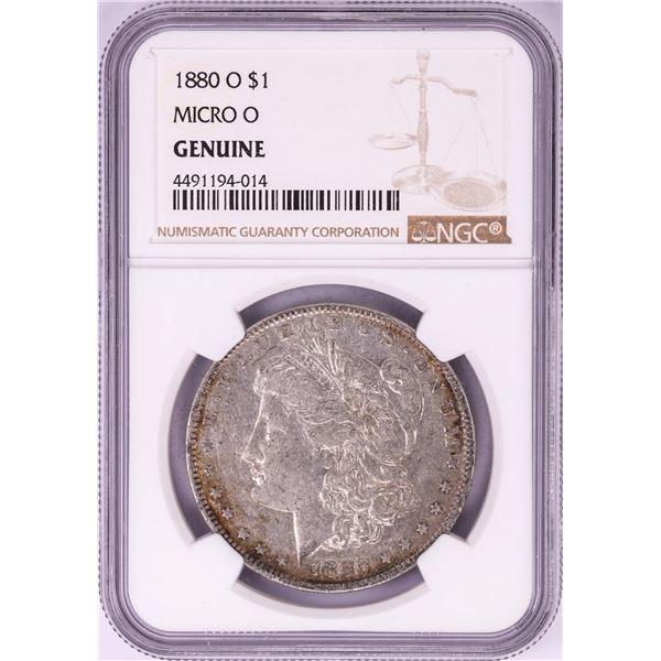 1880-O Micro O $1 Morgan Silver Dollar Coin NGC Genuine