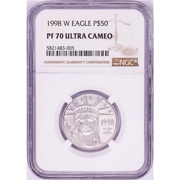 1998-W $50 Proof American Platinum Eagle Coin PCGS PF70 Ultra Cameo