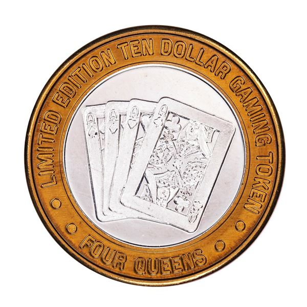 .999 Silver 4 Queens Hotel and Casino $10 Casino Limited Edition Gaming Token