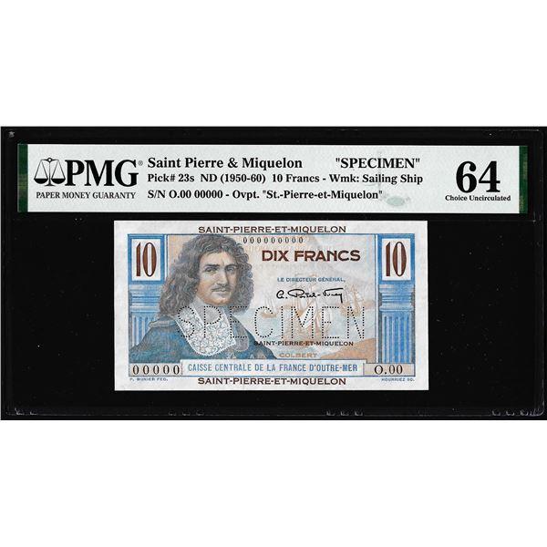 1950-1960 Saint Pierre & Miquelon 10 Francs Specimen Note Pick# 23s PMG Choice Uncirculated 64