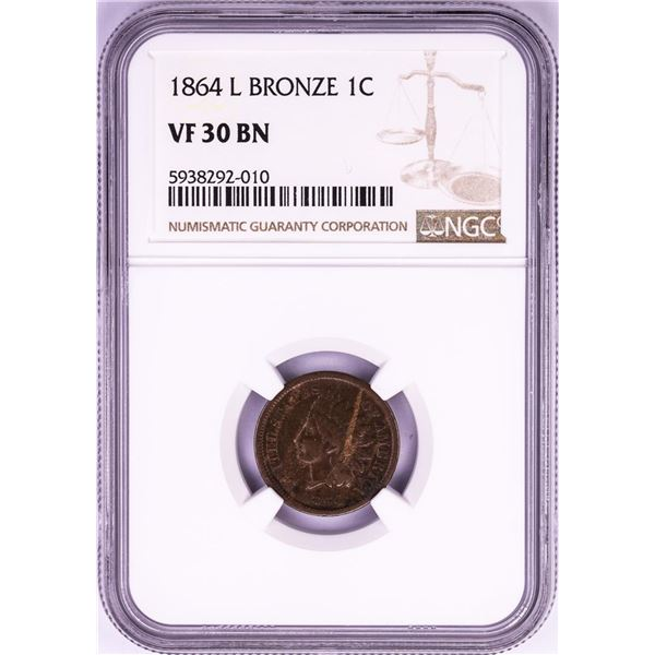 1864 L Bronze Indian Head Cent Coin NGC VF30BN