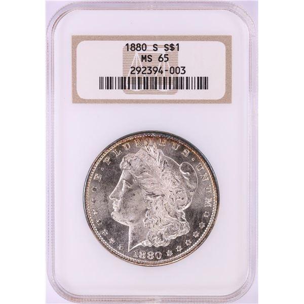 1880-S $1 Morgan Silver Dollar Coin NGC MS65 Nice Toning Old Fatty Holder