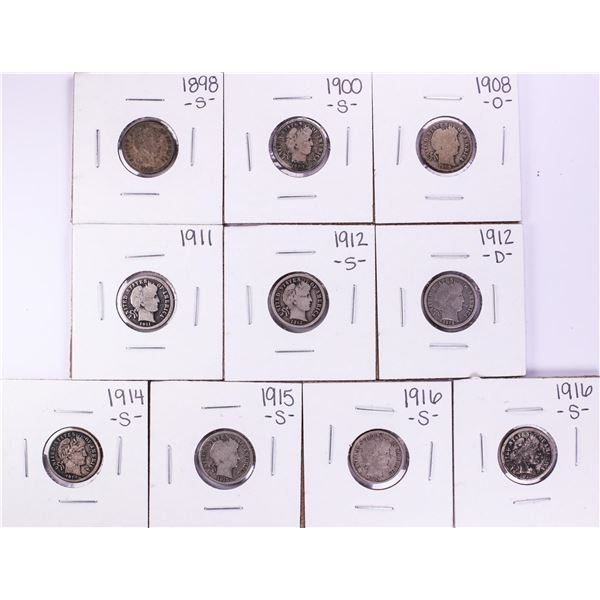 Lot of (10) Miscellaneous Date Barber Dime Coins