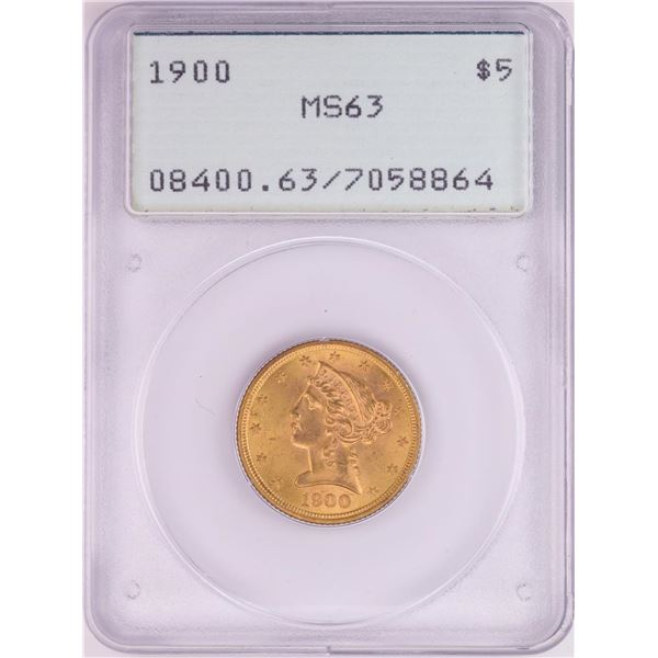 1900 $5 Liberty Head Half Eagle Gold Coin PCGS MS63 Old Green Rattler