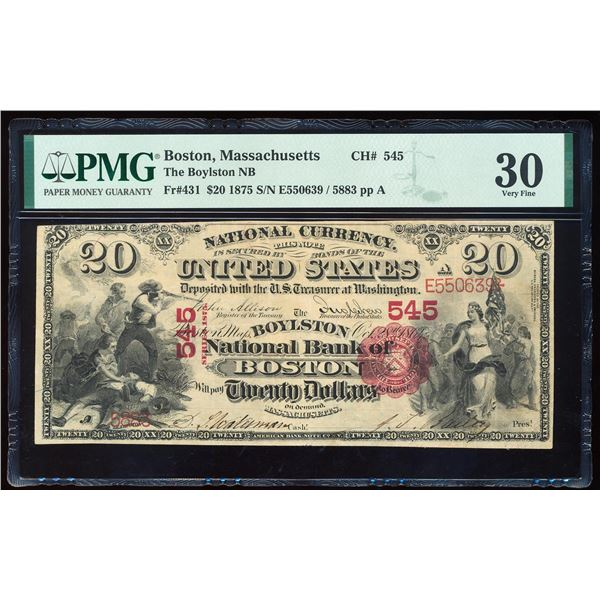 1875 $20 First Charter NB Boston, MA CH# 545 National Currency Note PMG Very Fine 30