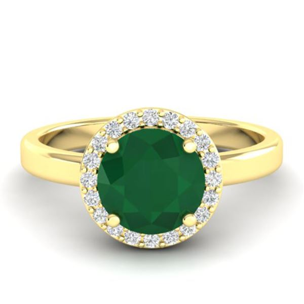 2 ctw Emerald & Halo VS/SI Diamond Micro Pave Ring 18k Yellow Gold - REF-45A3N