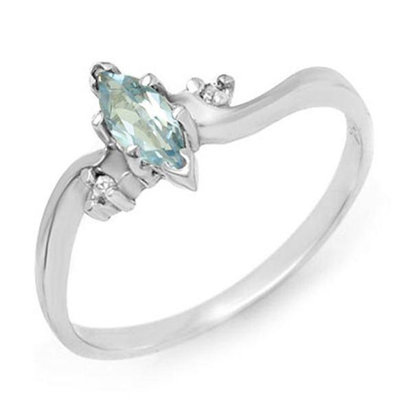 0.29 ctw Blue Topaz & Diamond Ring 14k White Gold - REF-12K3Y