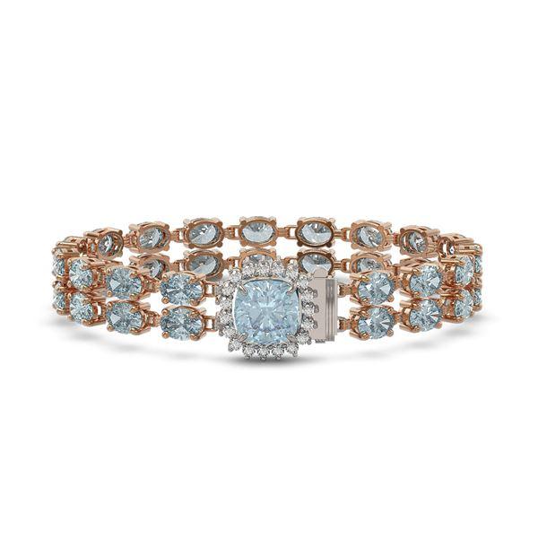 17.67 ctw Sky Topaz & Diamond Bracelet 14K Rose Gold - REF-178A2N