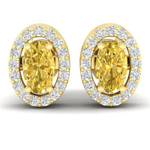 0.75 ctw Citrine & Micro Pave VS/SI Diamond Earrings 18k Yellow Gold - REF-25H9R