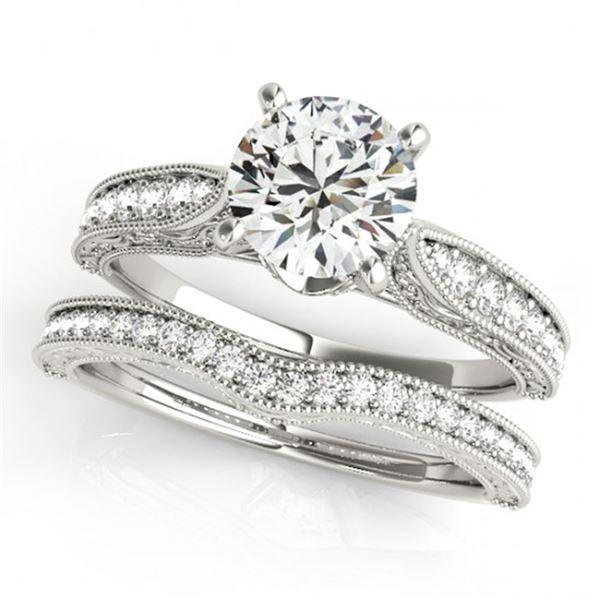 0.95 ctw Certified VS/SI Diamond 2pc Wedding Set Antique 14k White Gold - REF-108G3W