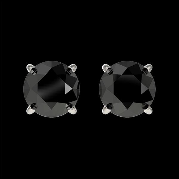 1 ctw Fancy Black Diamond Solitaire Stud Earrings 10k White Gold - REF-20M6G