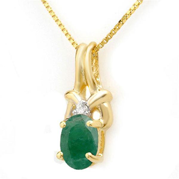 1.02 ctw Emerald & Diamond Pendant 10k Yellow Gold - REF-6Y8X
