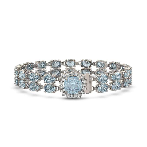 17.67 ctw Sky Topaz & Diamond Bracelet 14K White Gold - REF-178Y2X