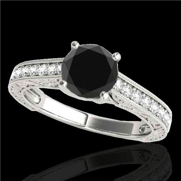 1.32 ctw Certified VS Black Diamond Solitaire Ring 10k White Gold - REF-43Y2X