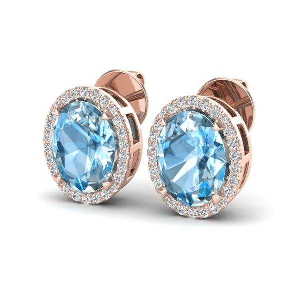 5.50 ctw Sky Blue Topaz & Micro VS/SI Diamond Earrings 14k Rose Gold - REF-45M2G