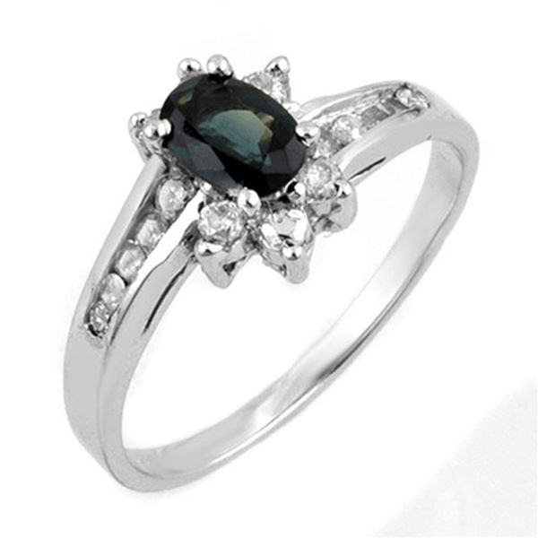 1.08 ctw Blue Sapphire & Diamond Ring 10k White Gold - REF-25F8M