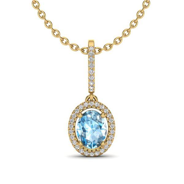 2 ctw Sky Blue Topaz & Micro VS/SI Diamond Necklace 18k Yellow Gold - REF-45A3N