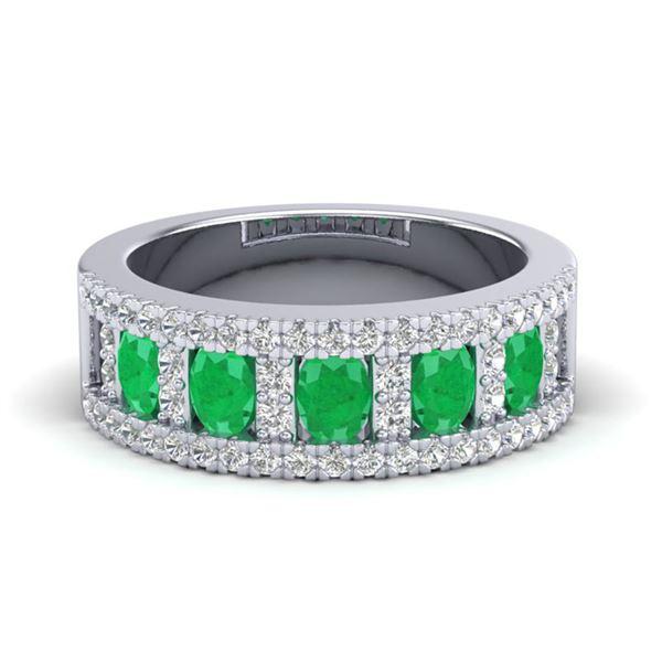 2.34 ctw Emerald & Micro Pave VS/SI Diamond Ring 10k White Gold - REF-55R2K