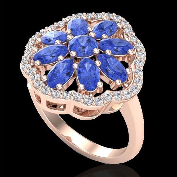 3 ctw Tanzanite & VS/SI Diamond Cluster Designer Ring 10k Rose Gold - REF-52R3K