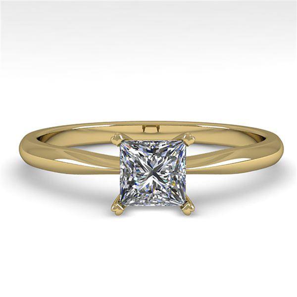 0.52 ctw Princess Cut VS/SI Diamond Engagment Ring 18k Yellow Gold - REF-71M2G